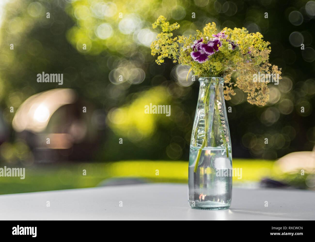 Blumengesteck in einer Glasflasche. Lila Blumen - Stock Image