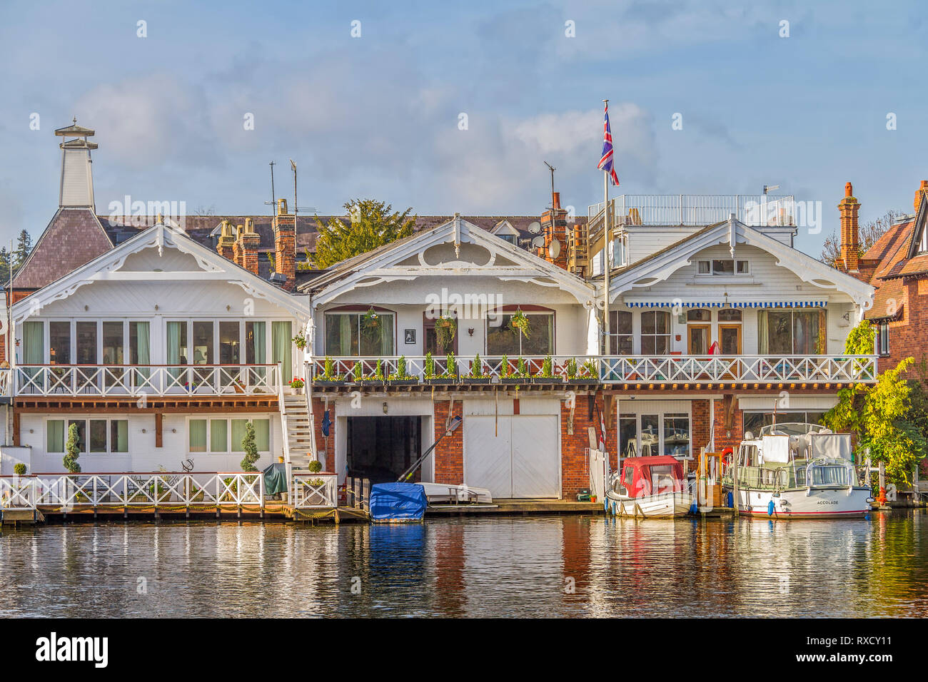 Boathouses On The River,  Henley On Thames, Oxfordshire, UK Stock Photo
