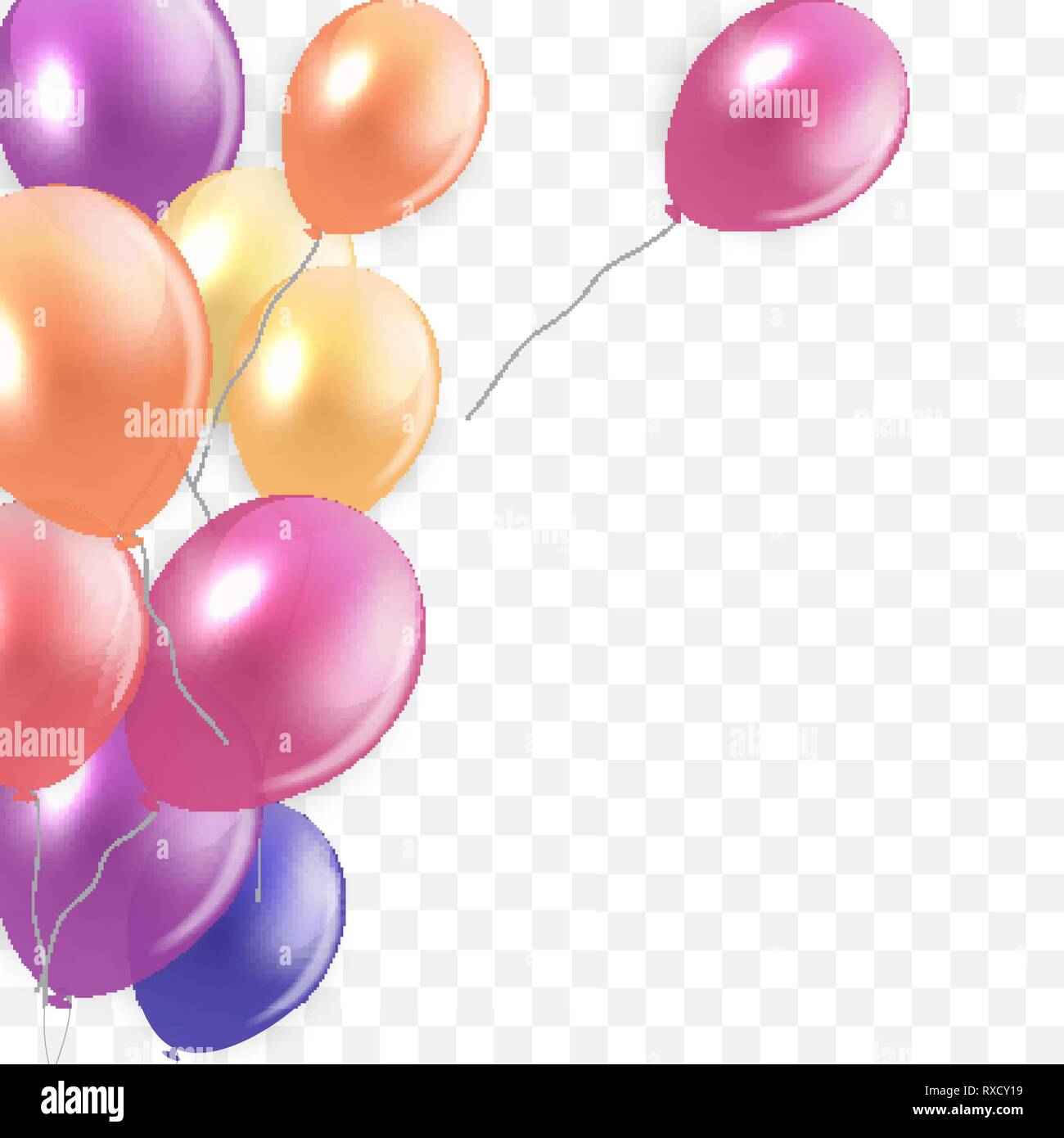 Glossy Happy Birthday Concept With Balloons Isolated On Transparent