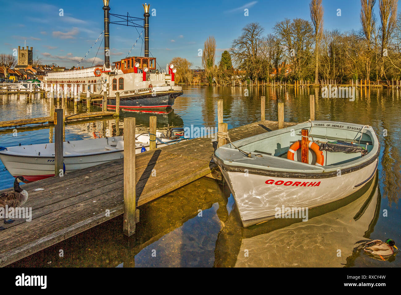 Boats and Paddle Steamer New Orleans, Henley On Thames, UK Stock Photo