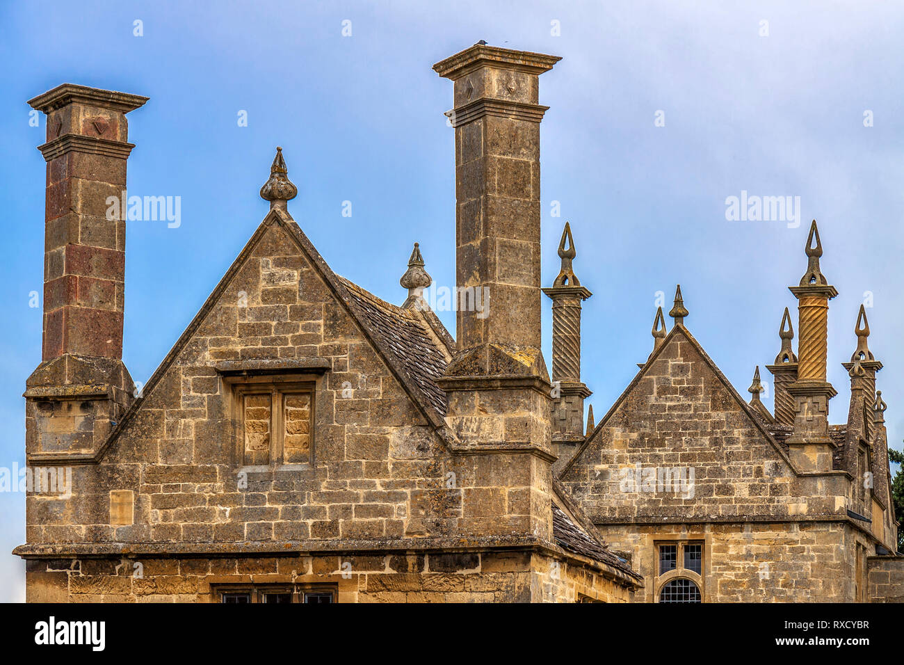 Chimneys In  Chipping Campden, Gloucestershire, England, UK Stock Photo