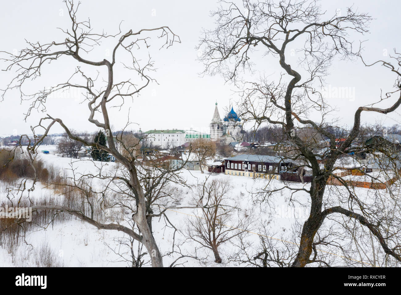 Aerial view of the Nativity Cathedral in the Kremlin and Suzdal town houses, Vladimir oblast, Russia - Stock Image