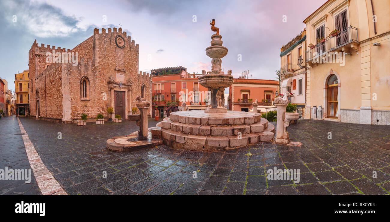 Piazza Duomo in Taormina, Sicily, Italy Stock Photo