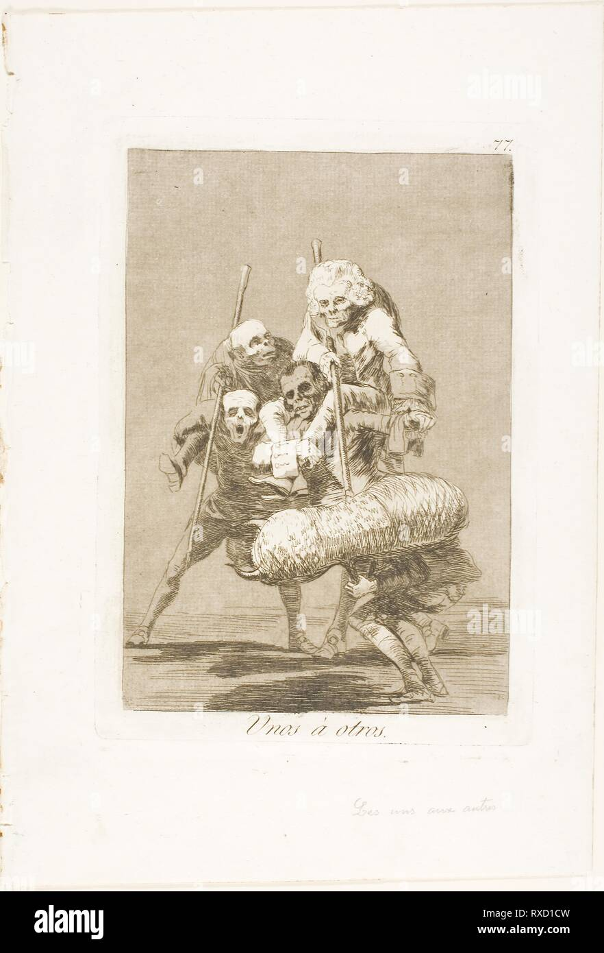 What One Does to Another, plate 77 from Los Caprichos. Francisco José de Goya y Lucientes; Spanish, 1746-1828. Date: 1797-1799. Dimensions: 193 x 133 mm (image); 214 x 150 mm (plate); 301 x 207 mm (sheet). Etching and aquatint on ivory laid paper. Origin: Spain. Museum: The Chicago Art Institute. - Stock Image