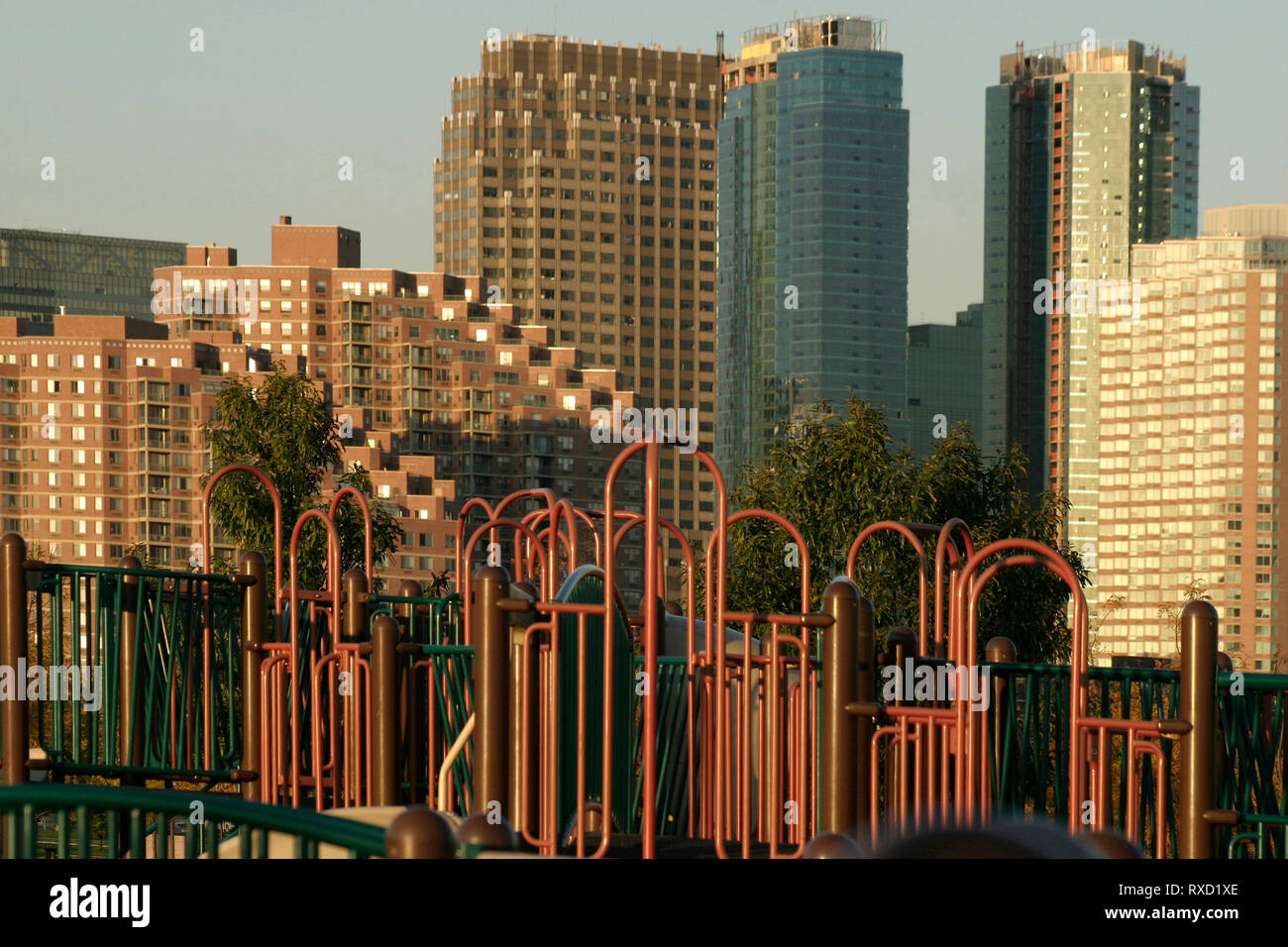Buildings in Jersey City seen from the Liberty Park, NJ, USA - Stock Image