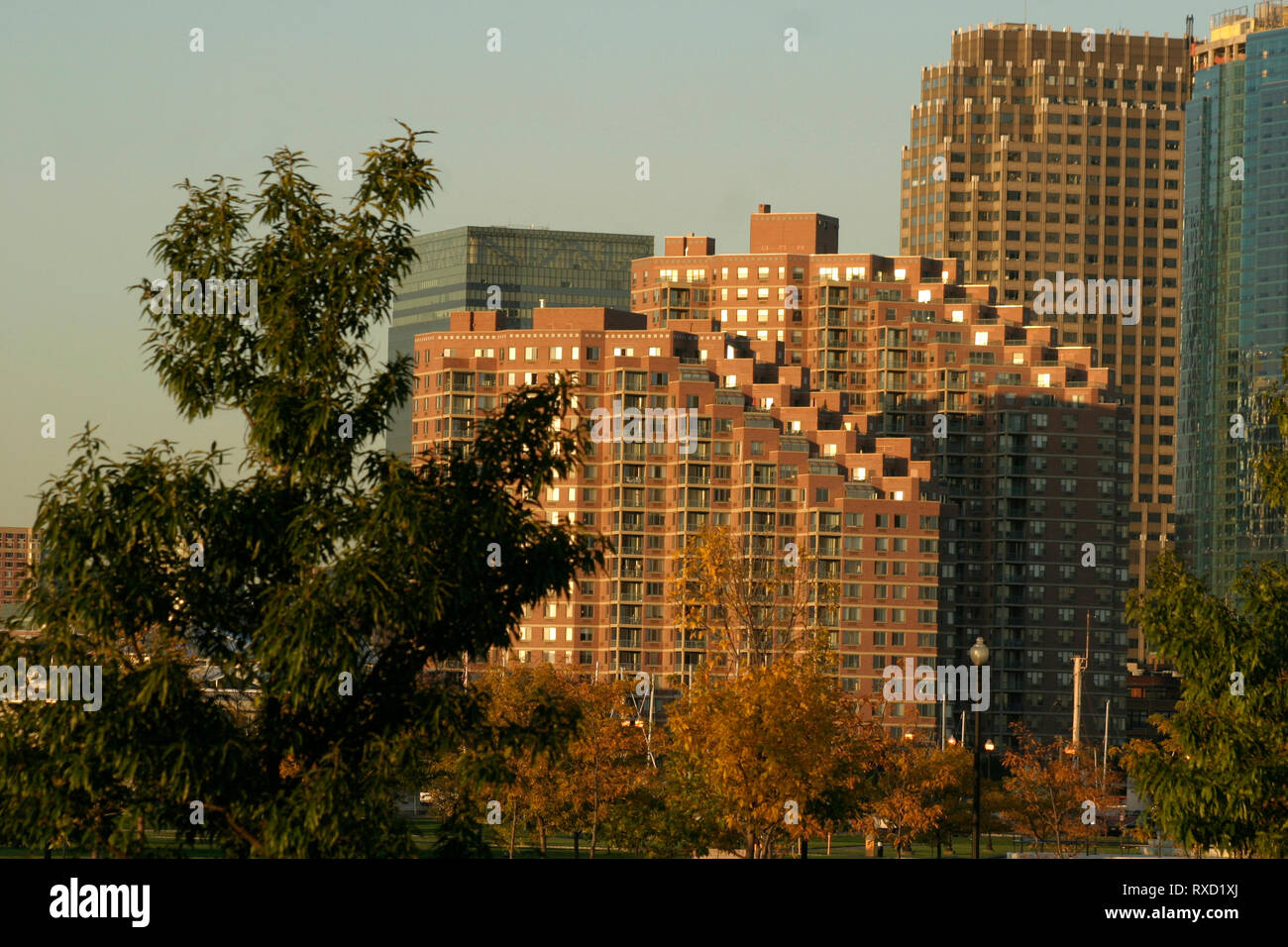 Portside Towers in New Jersey, USA, seen from the Liberty Park Stock Photo
