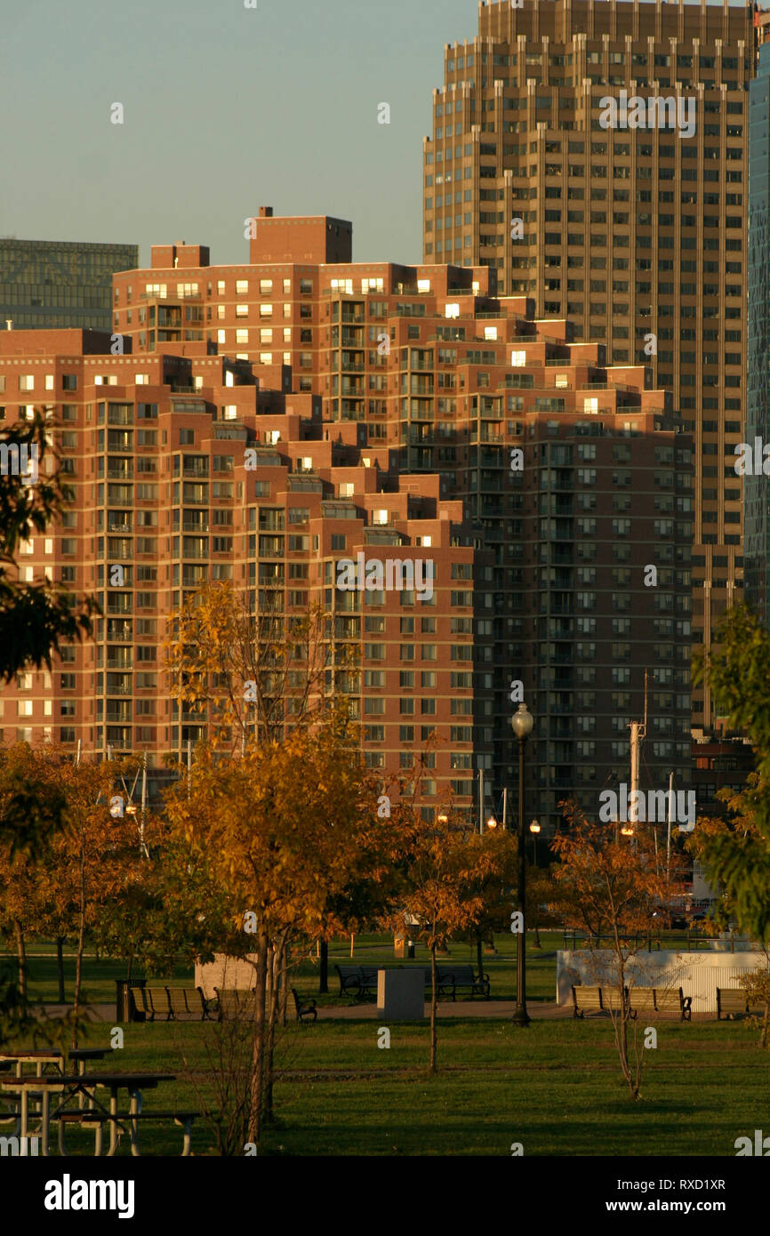 Portside Towers in New Jersey, USA, seen from the Liberty Park - Stock Image