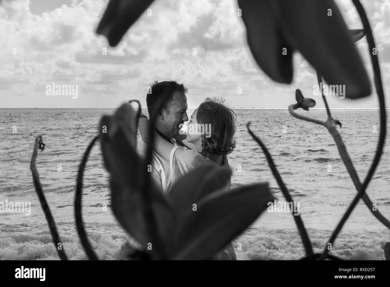 Man and women in love. They are looking each other. Branches and leafs at the first plan, and sea or river or lake at the background. Black and white  - Stock Image