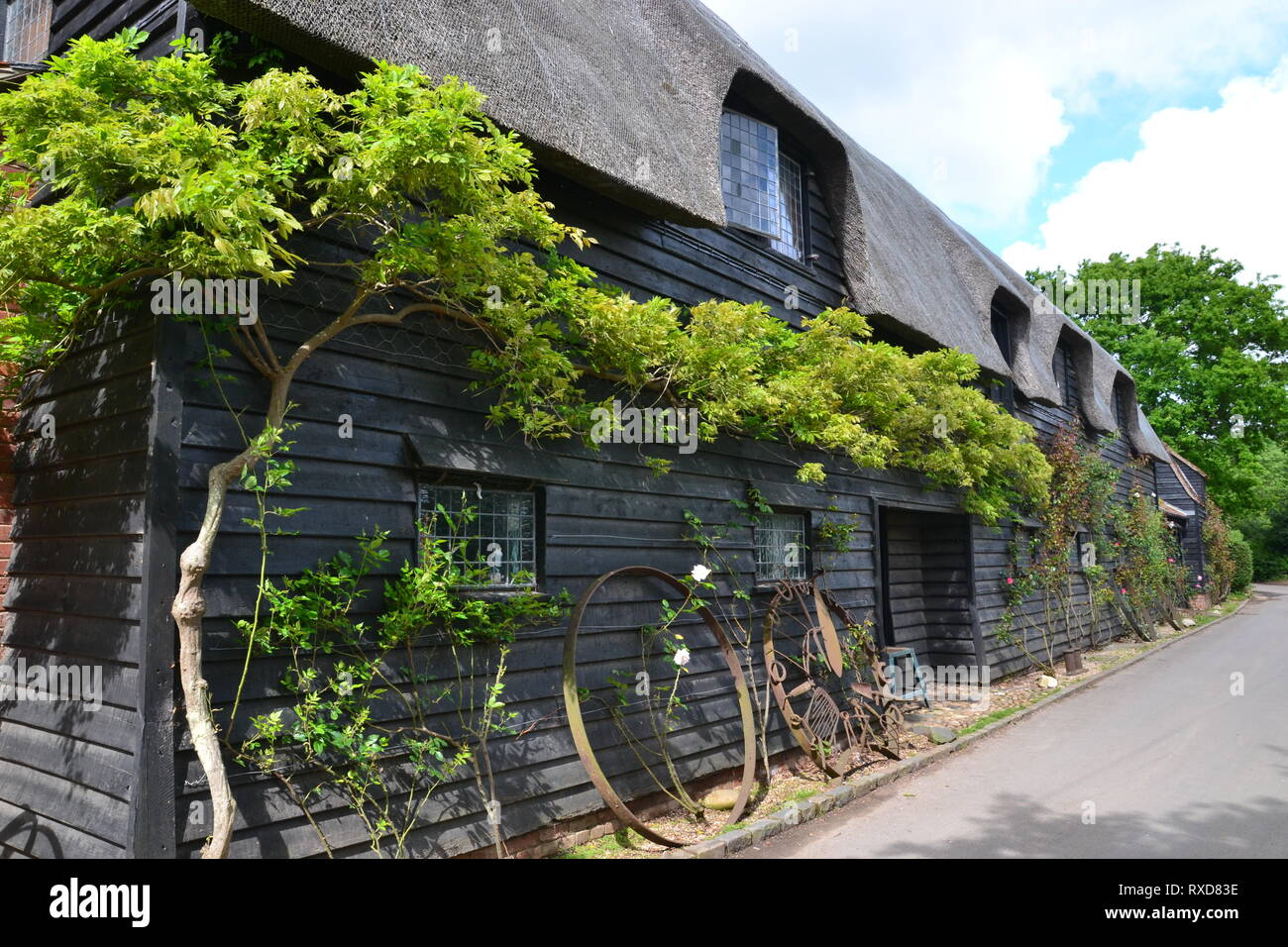 Ironwork outside Flatford Granary, Flatford, Suffolk, UK - Stock Image