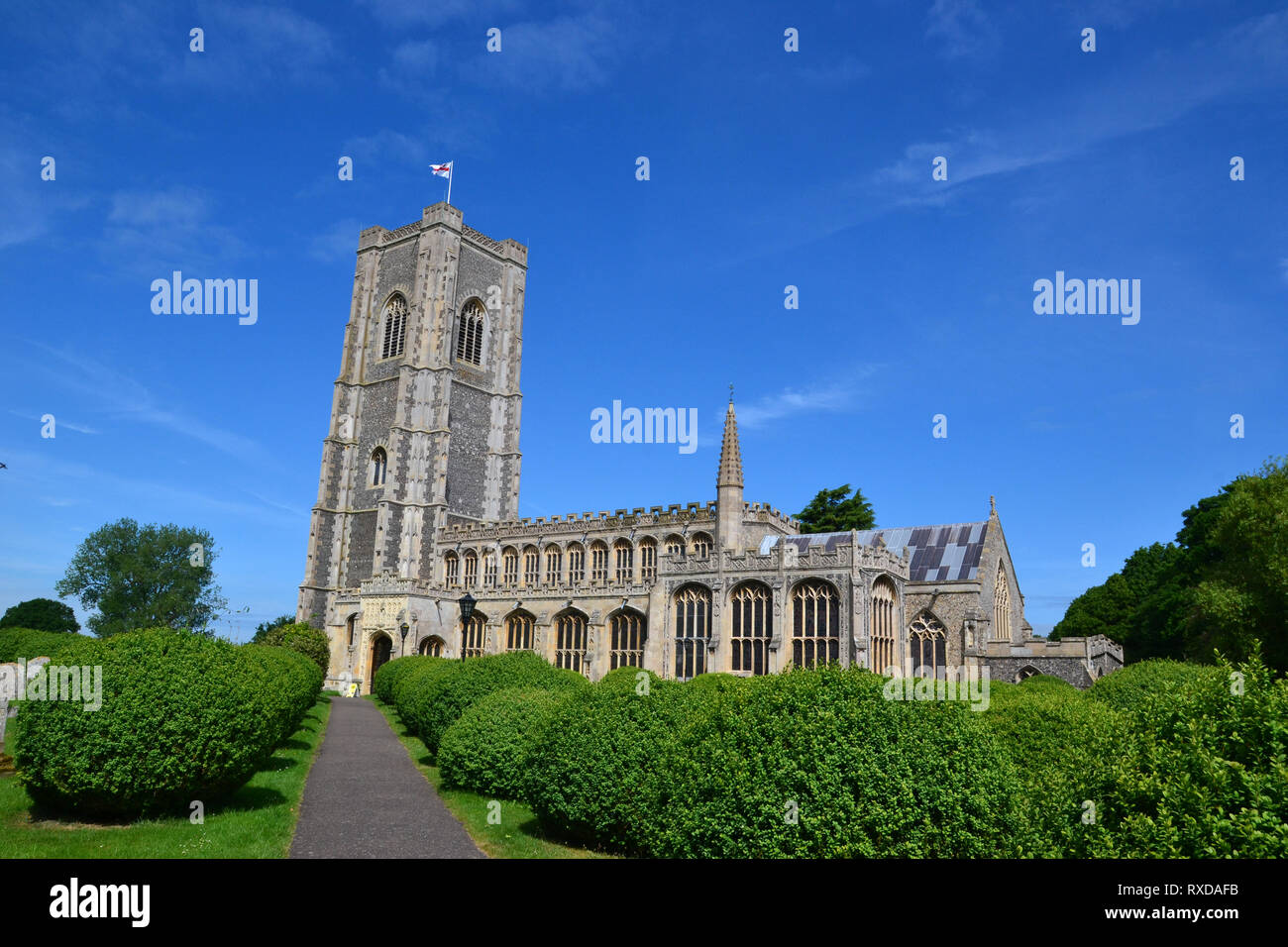 St Peter and St Paul's Church, Parish Church in Lavenham, Suffolk, UK. Sunny day. - Stock Image