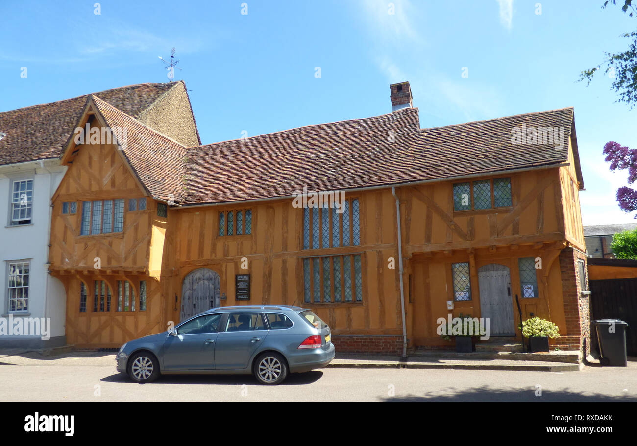 Little Hall Museum, Lavenham. Historic Tudor half-timbered building in Lavenham, Suffolk, UK. Sunny day. - Stock Image