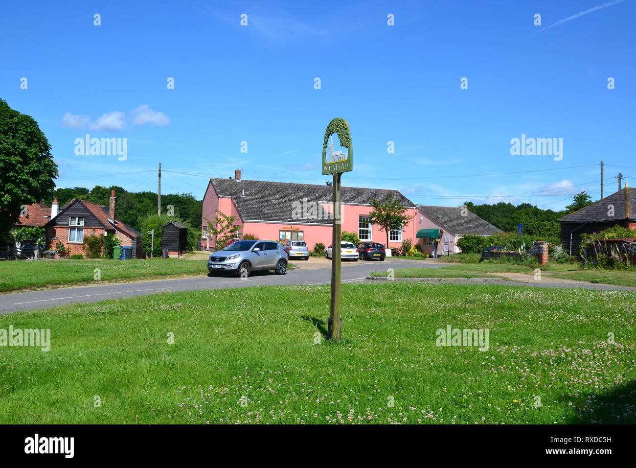 Village Green, Polstead, Suffolk, UK - Stock Image