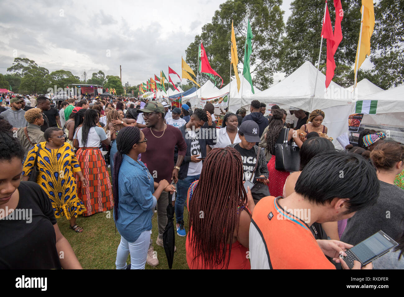 Sydney, Australia 9th, March 2019, Multicultural Australia was on show today at the Africultures Festival held in Wyatt Park, Lidcombe, Sydney. Despite the occasional shower of rain event goers were treated to music and entertainment, colourful market stalls and food from many of the represented nations. Contributor: Stephen Dwyer / Alamy Stock Photo Credit: Stephen Dwyer/Alamy Live News Stock Photo