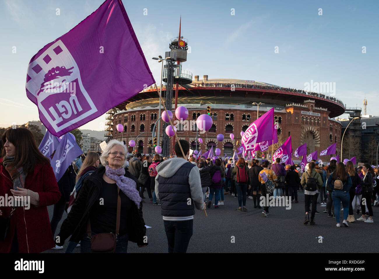 Barcelona, Spain. 09th Mar, 2019. People gather to mark the International Women's Day, in Barcelona, Spain on March 08, 2019. This is an inclusive demonstration and march for all women, where all supporters and allies of all genders are welcome. Credit: Oscar Dominguez/Alamy Live News Stock Photo
