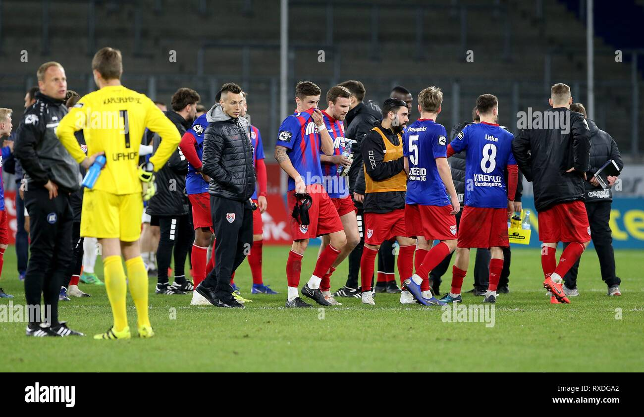 firo: 08.03.2019 Football, 3. Bundesliga, Season 2018/2019 KFC Uerdingen 05 - Karlsruher SC The players of Uerdingen are disappointed. | usage worldwide - Stock Image