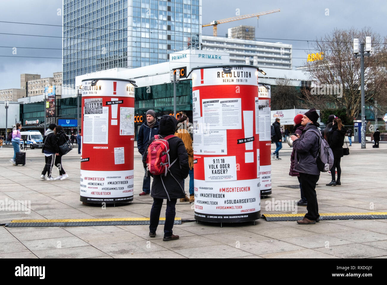 Berlin, Germany. 8th Mar 2019.  Exhibition celebrating 100 years of Revolution 1918-1919 using placards, information towers and a mobile furniture van to document historical events. During the November revolution furniture vans were used as barricades and a historic furniture van is a central element of this winter exhibition theme that documents the event. November 2018 marked the 100th anniversary of the end of the First World War and the November Revolution. Credit: Eden Breitz/Alamy Live News - Stock Image