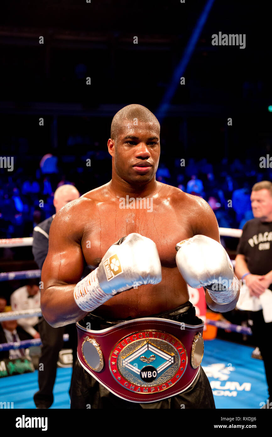 London uk 8th March 2019 Boxing returns to the royal albert hall kensington gore london Daniel Dubois becomes the new wbo european Heavyweight champion Daniel Dubois v Razvan Cojanu Credit: Dean Fardell/Alamy Live News - Stock Image