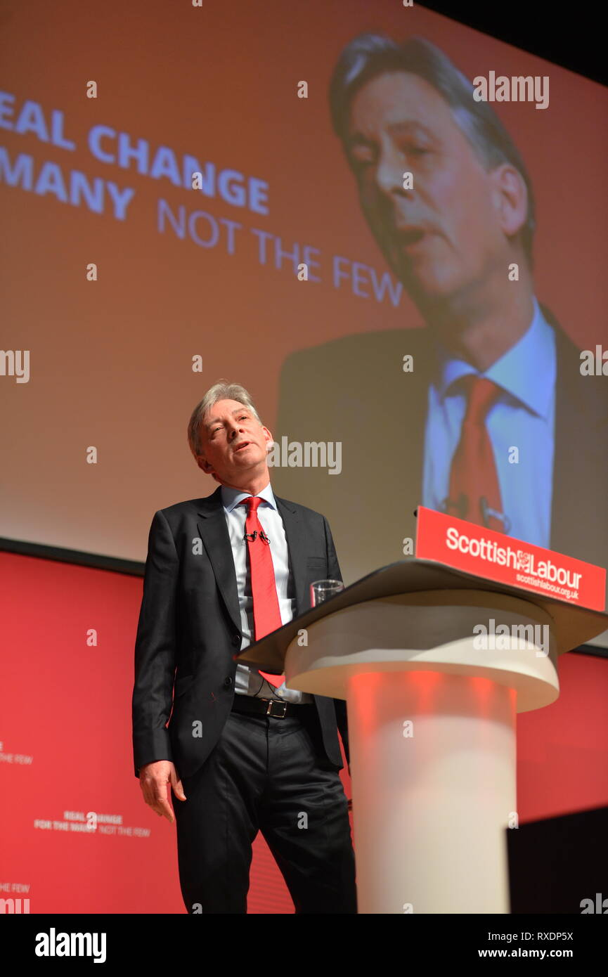 Dundee, UK. 9th Mar, 2019. Scottish Labour Leader, Richard Leonard MSP gives his key note speech to conference in Caird Hall, Dundee. Credit: Colin Fisher/Alamy Live News - Stock Image