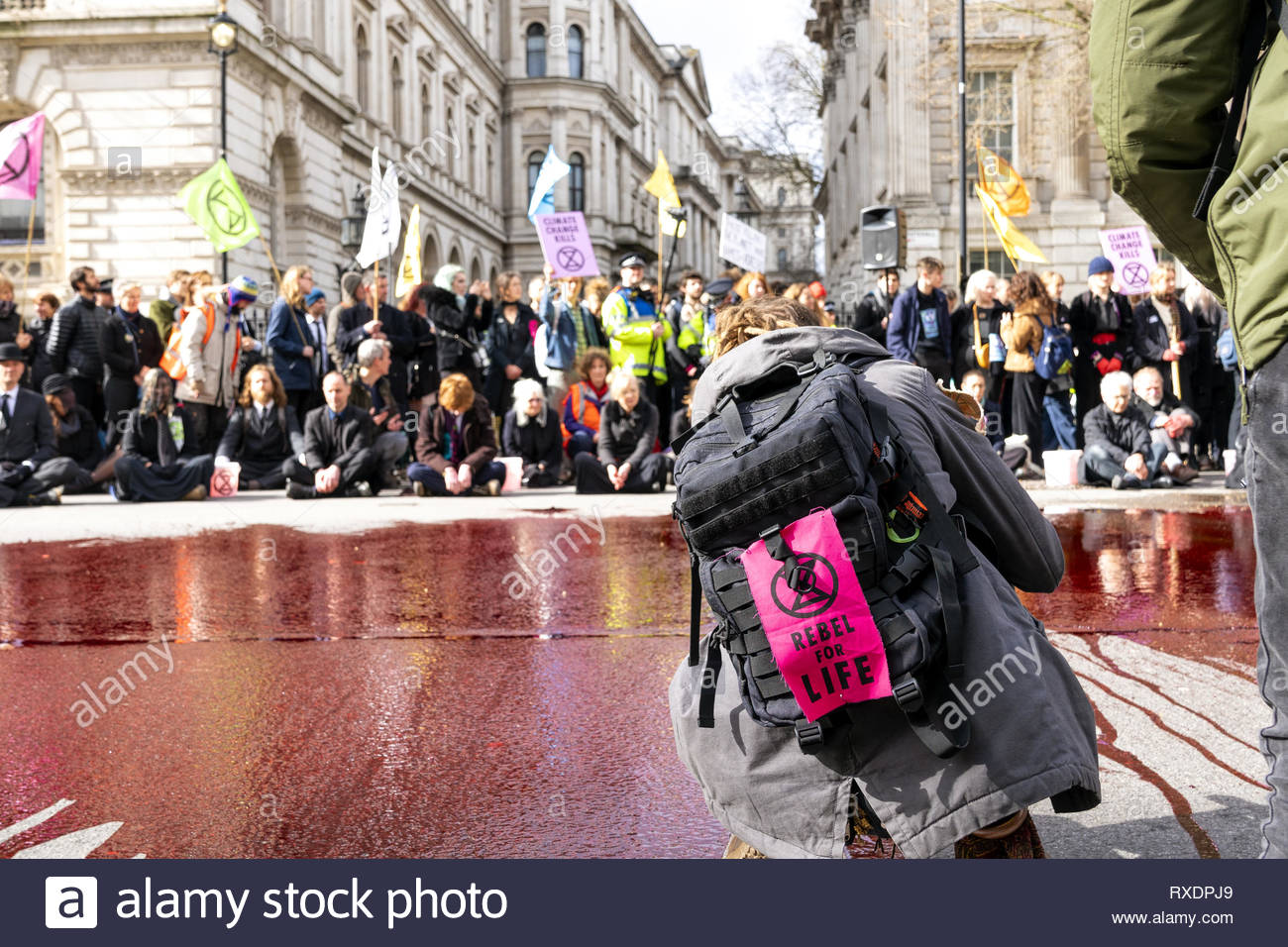 London, UK. 9th Mar, 2019. Extinction Rebellion Rally a demonstration at Downing Street. Protestor with 'Rebel for Life' banner. Credit: AndKa/Alamy Live News - Stock Image