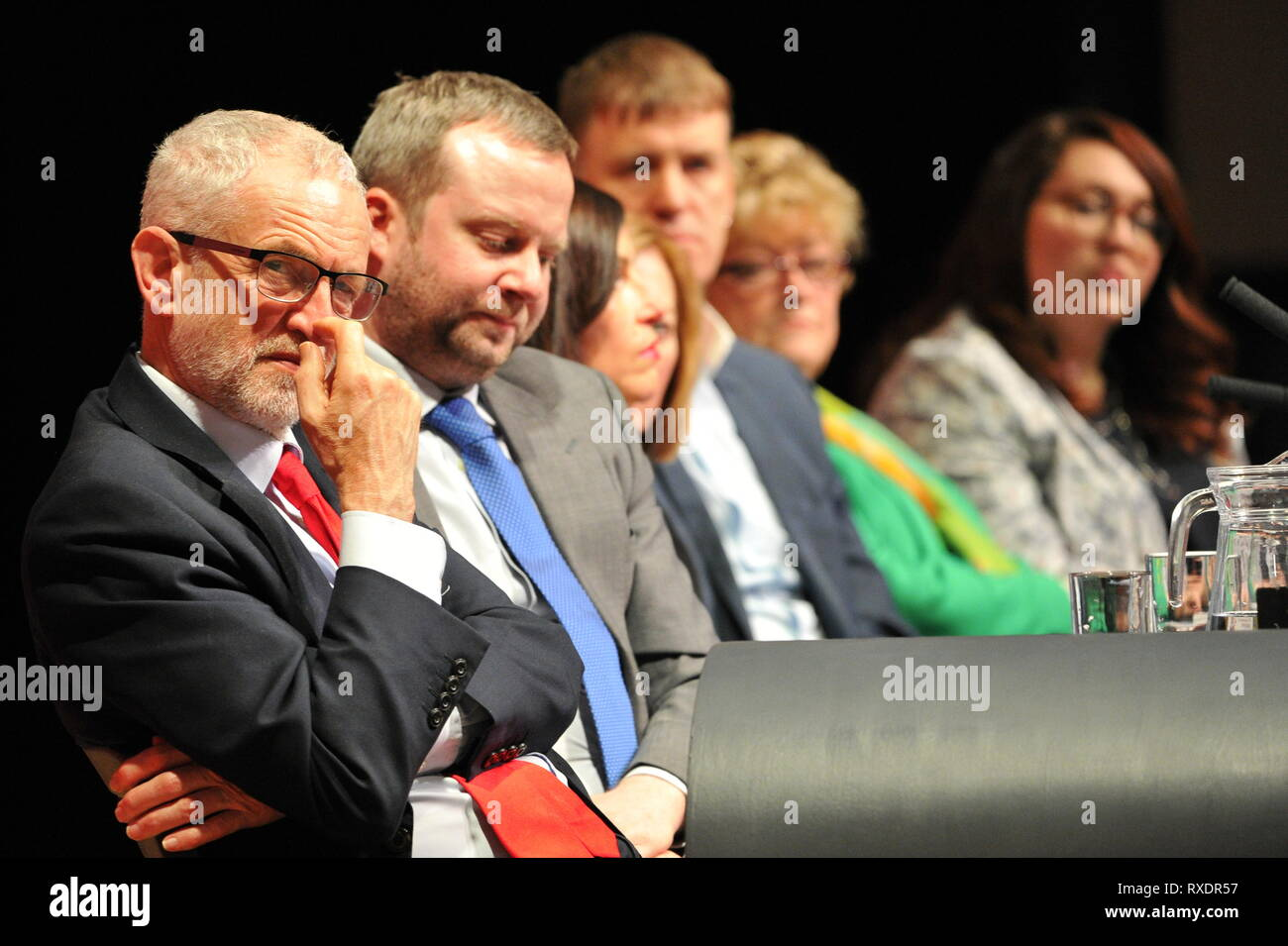 Dundee, UK. 9th Mar, 2019. Scottish Labour Leader - Richard Leonard addresses conference with his keynote speech. ( Pictured on the left is Jeremy Corbyn MP) Credit: Colin Fisher/Alamy Live News - Stock Image