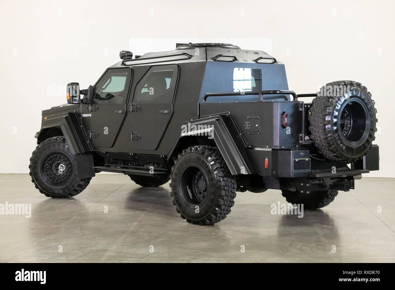 March 09, 2019: 2015 Ford Gurkha F-450SD Terradyne 4WD 2015 Terradyne Gurkha RPV complete with full ARMORED CLADDING! Paying homage to the Nepali Soldiers where it gets the name ''Gurkha'' and built for transporting a crew of 4, this RPV (Rapid Patrol Vehicle) is based on the Ford F-450 platform and is armored without exceeding the the maximum payload ratings of the Ford chassis! Powered by the 6.7L Turbo Diesel Power Stroke with 300 HP and 660 lb/ft torque, the original glass has been replaced by ballistic quality transparencies providing finishing touches on this truly ARMORED vehicle Albert - Stock Image