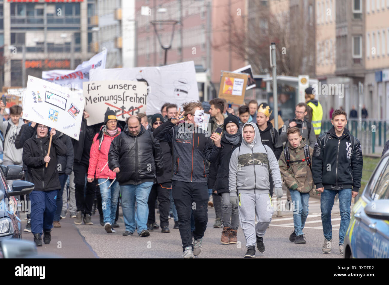 Magdeburg, Germany - 09th March, 2019: : In Magdeburg about 1000 predominantly younger people demonstrate against the EU copyright reform. The demonstrators fear censorship of the Internet if Article 13 is implemented. Credit: Mattis Kaminer/Alamy Live News Stock Photo