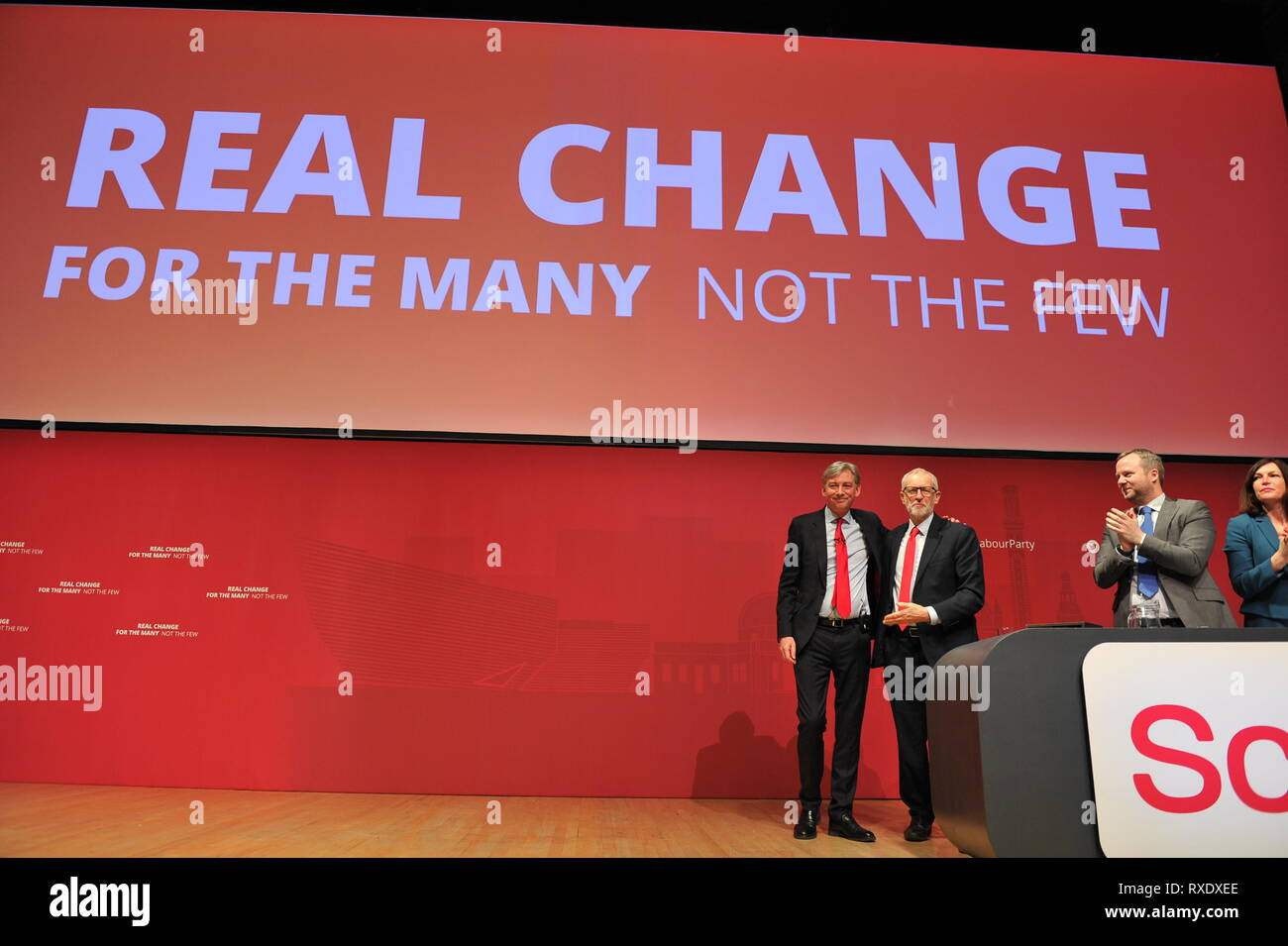 Dundee, Scotland, UK. 9th Mar, 2019. The to Labour Leaders together after Richard Loenard gave his speech at conference. (left) Richard Leonard MSP and (right) Rt Hon Jeremy Corbyn MP Credit: Colin Fisher/Alamy Live News - Stock Image