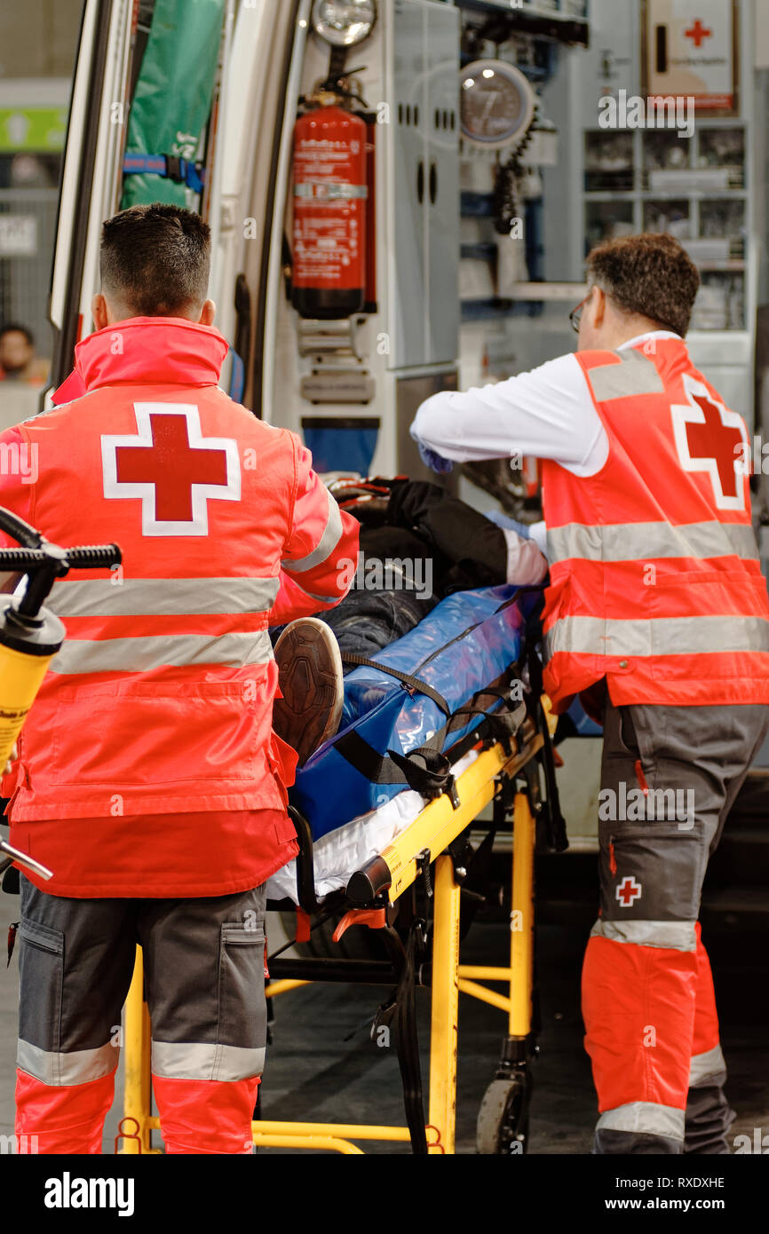 Madrid, Spain. 09th Mar, 2019. Simulation of an accident and assistance of the Red Cross at the MotoMadrid Motor Show in Madrid, Spain. Enrique Palacion Sans./Alamy Live News - Stock Image