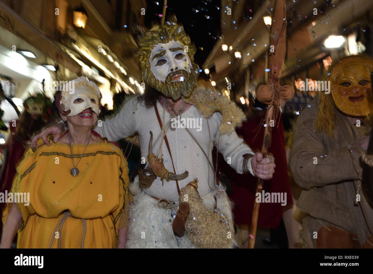 Athens, Greece. 9th Mar 2019. Participants march through the historic center of Athens to celebrate the ancient Greek festival phalliphoria honoring the god of wine, fertility and theater Dionysus in Athens, Greece. Credit: Nicolas Koutsokostas/Alamy Live News. - Stock Image