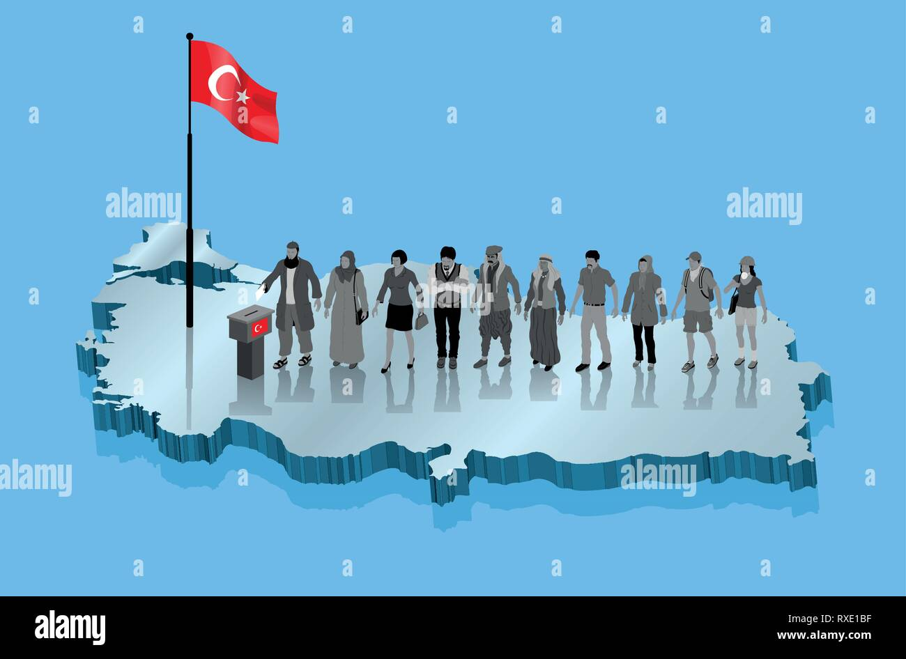 Turkish religious muslim voters and Kurds are voting for Turkey election. All the objects, shadows and background are in different layers. Stock Vector