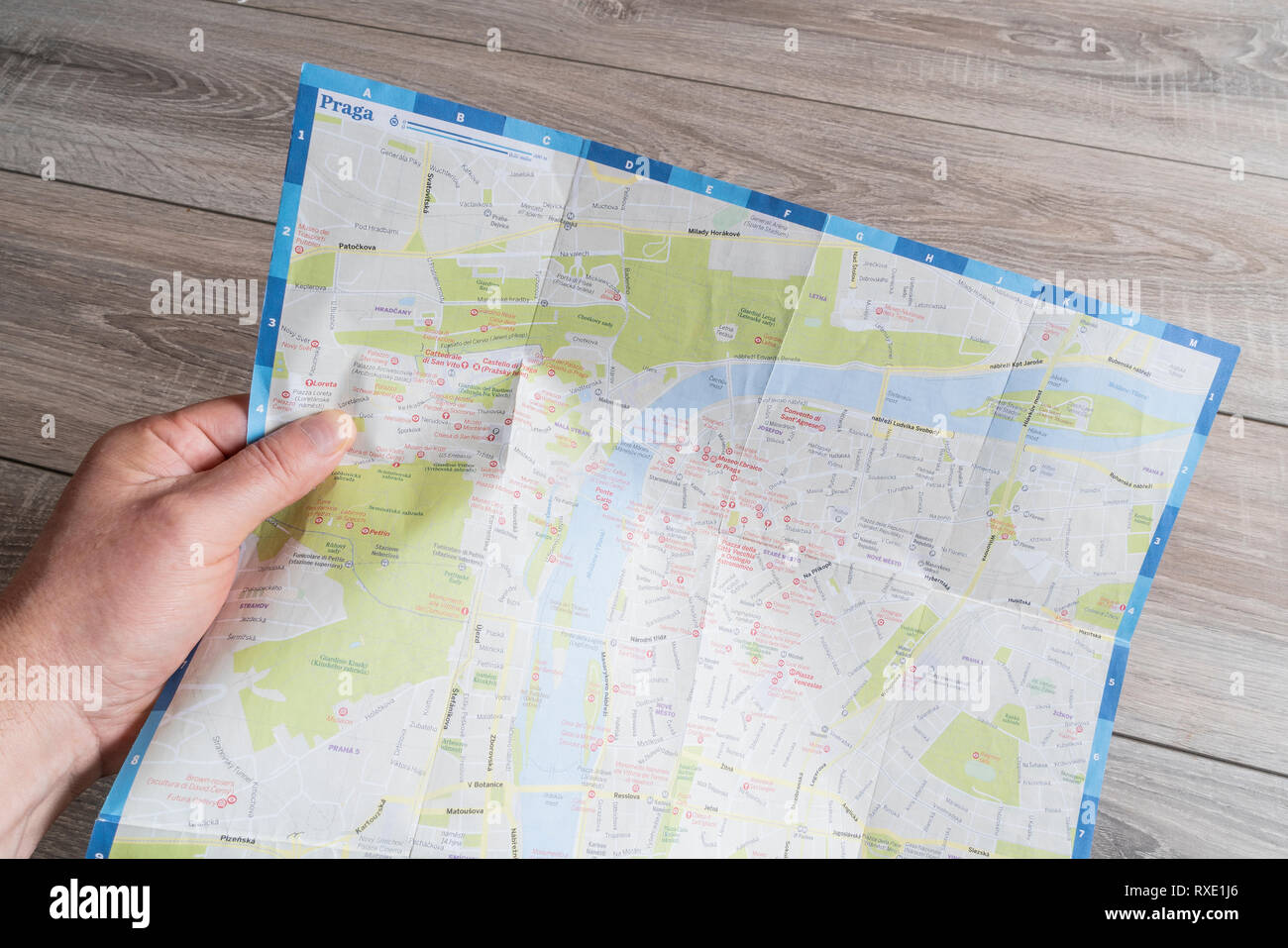consultation of the Prague city map - Stock Image