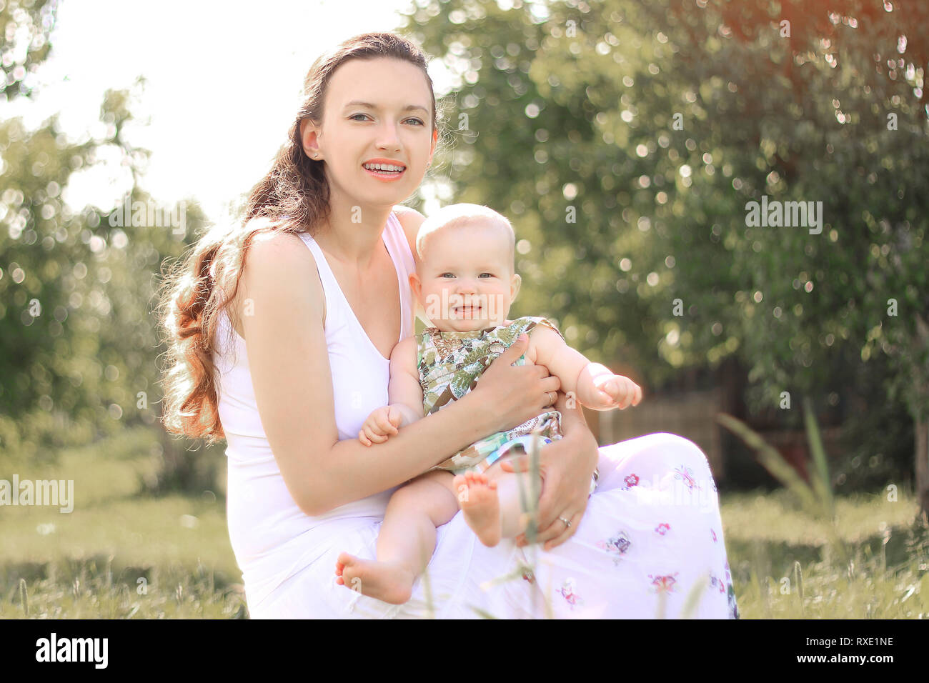 mom and baby.the concept of a happy motherhood.photo with copy space - Stock Image