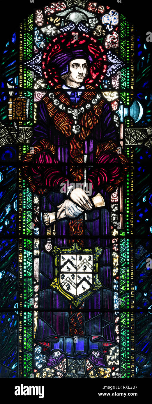 St. John Fisher, defender of Papal Supremacy, who was beheaded in 1535, St. Oswald & St. Edmund Church, Ashton-in-Makerfield, Grreater Manchester, UK - Stock Image