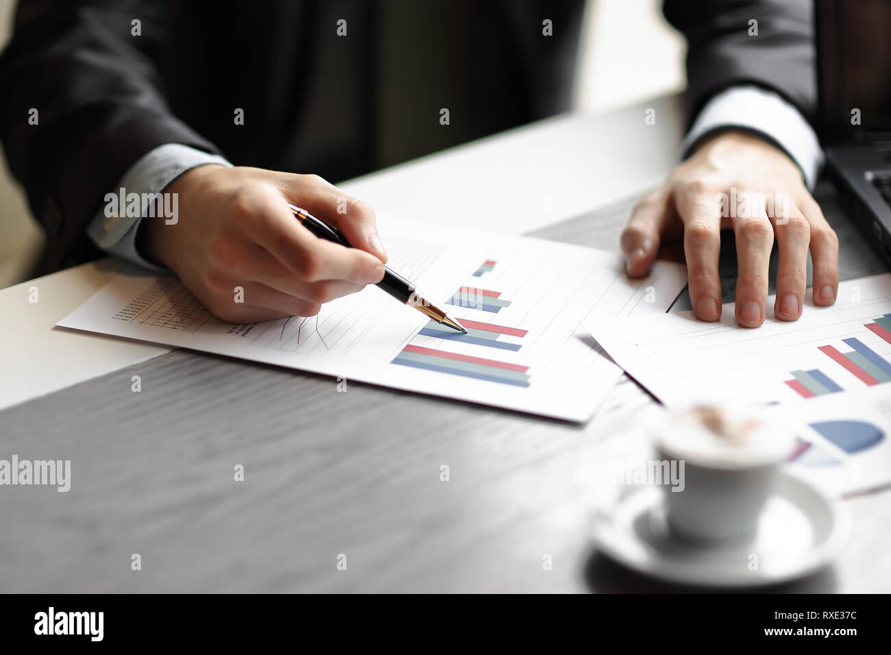 close up.the business team is discussing financial data. Stock Photo