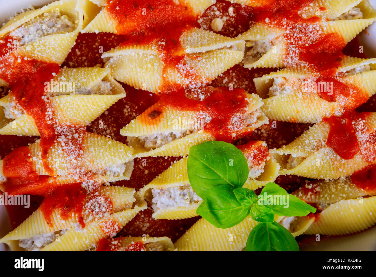 Cannelloni pasta shells in sauce the bolognese with tomato sauce Stock Photo