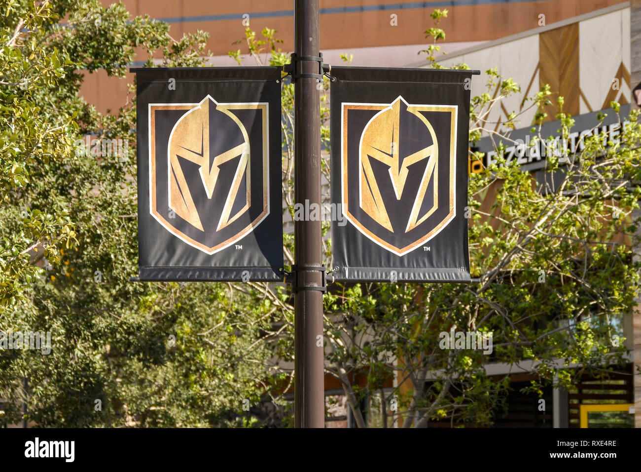 LAS VEGAS, NV, USA - FEBRUARY 2019: Banners on a lamp post in Las Vegas with the badge of the Golden Knights professional ice hockey team, which is ba - Stock Image
