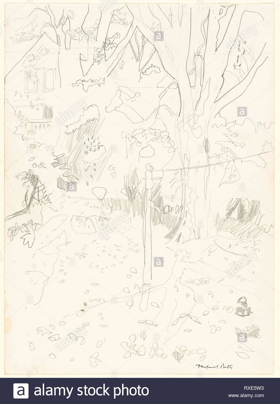 Trees and House. Fairfield Porter; American, 1907-1975. Date: 1966-1967. Dimensions: 349 x 254 mm. Graphite on ivory wove paper. Origin: United States. Museum: The Chicago Art Institute. - Stock Image