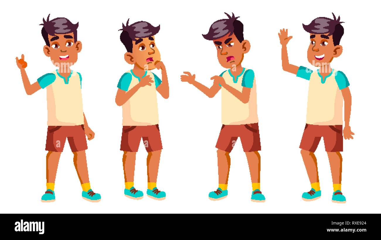 Arab, Muslim Boy Schoolboy Kid Poses Set Vector. High School Child. Secondary Education. Lecture. For Card, Advertisement, Greeting Design. Isolated - Stock Image
