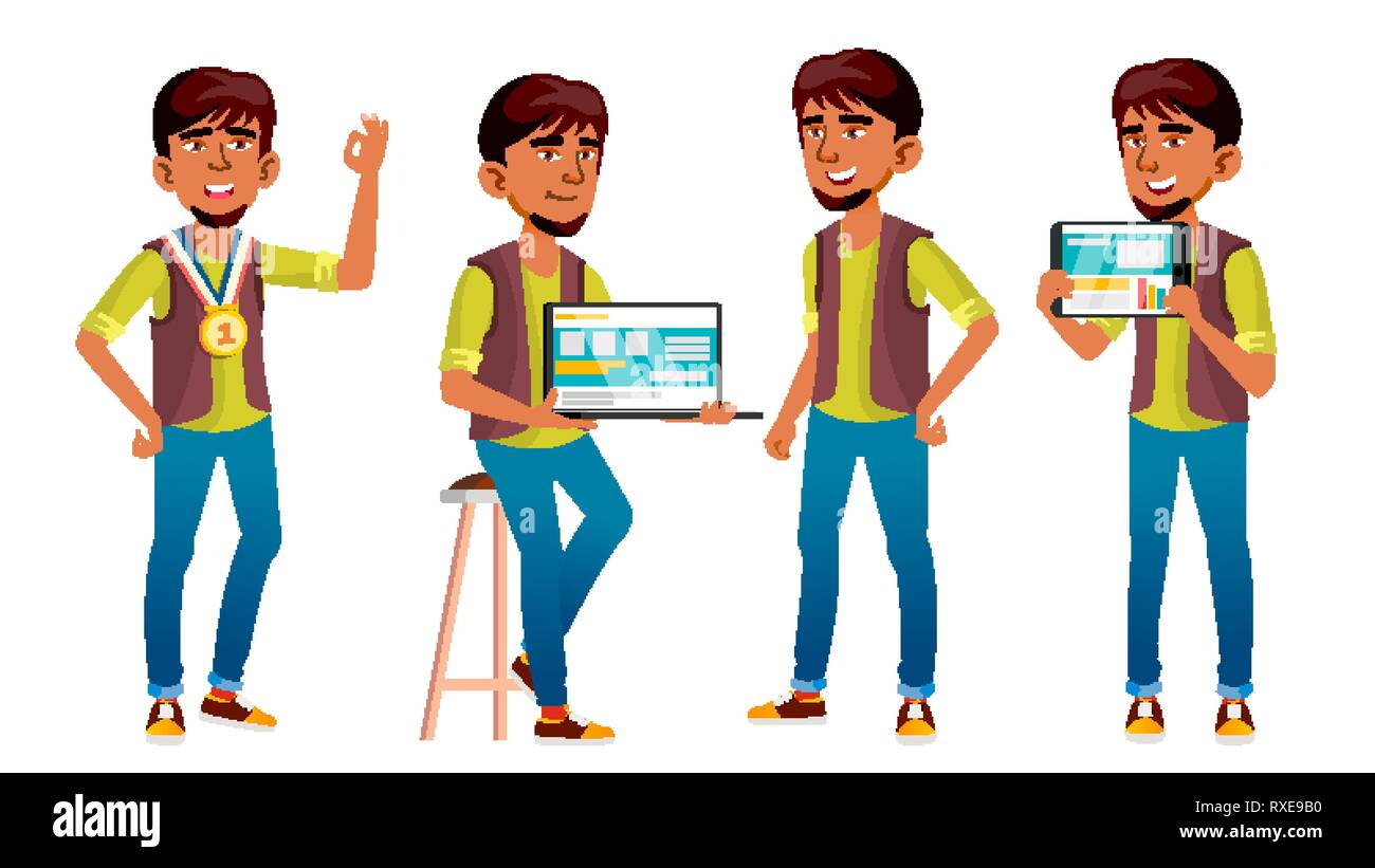 Arab, Muslim Boy Poses Set Vector. High School Child. Programmer, Technology. Winner. Young People, Face, Cheerful. For Postcard, Cover, Placard - Stock Image