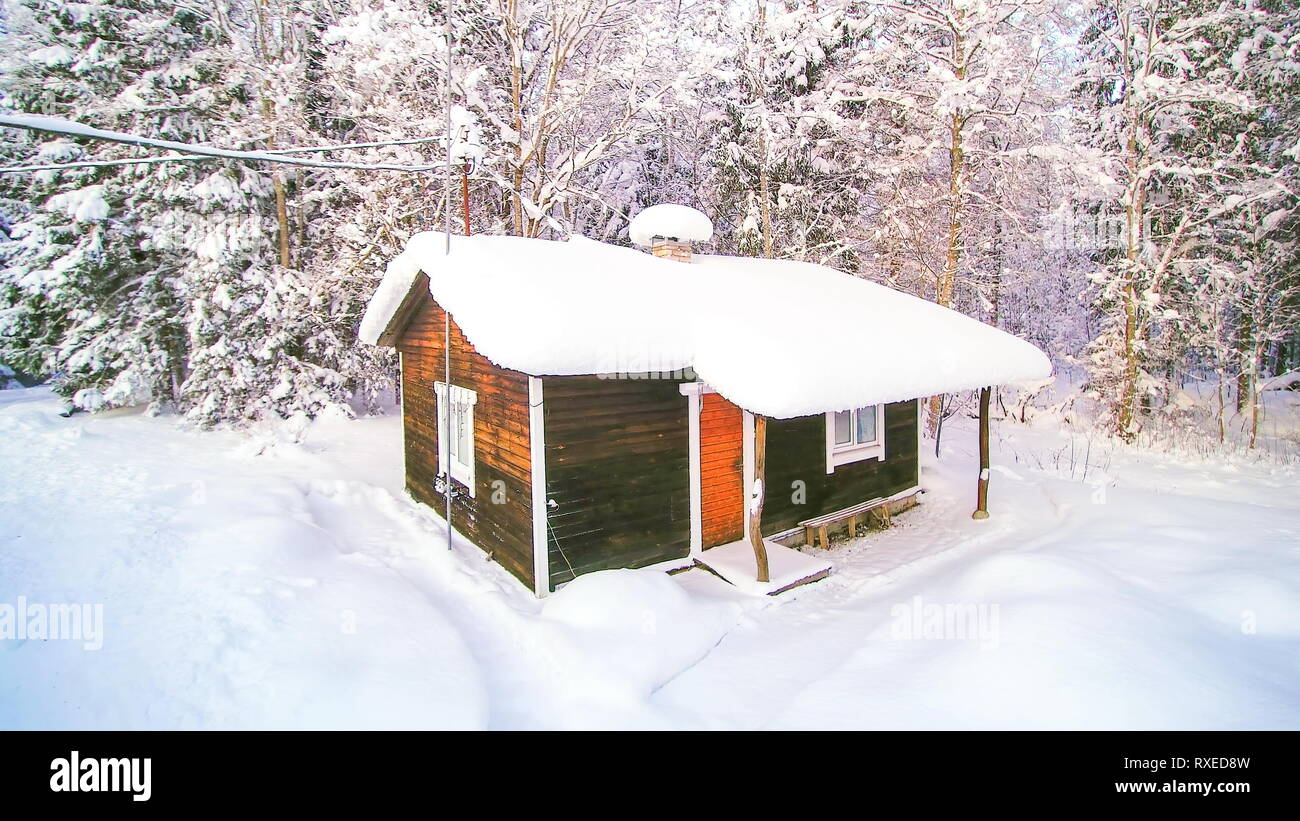 Rotating view of the house covered in snow in the winter season in Scandinavia Stock Photo