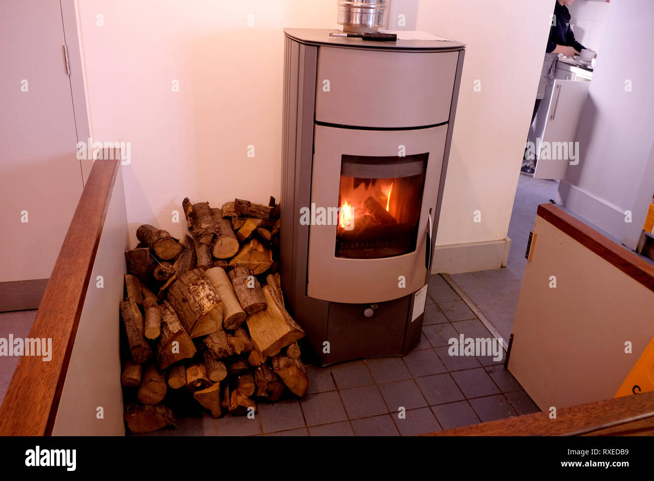log burning stove in canterbury east kent uk march 2019 - Stock Image