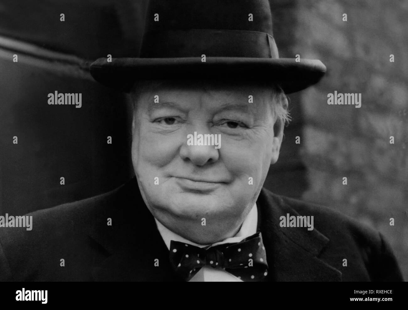 Sir Winston Churchill British wartime leader. 1940's image. Copyright from the archives of Press Portrait Service (Formerly Press Portrait Bureau) - Stock Image