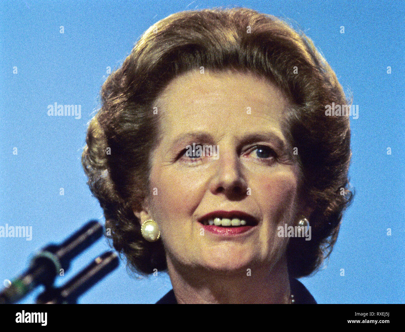 Margaret Thatcher at the height of her powers in the early 1980's from Margaret Thatcher, Britain's first woman prime minister rare set of colour 'expression' images from 1980's. - Stock Image