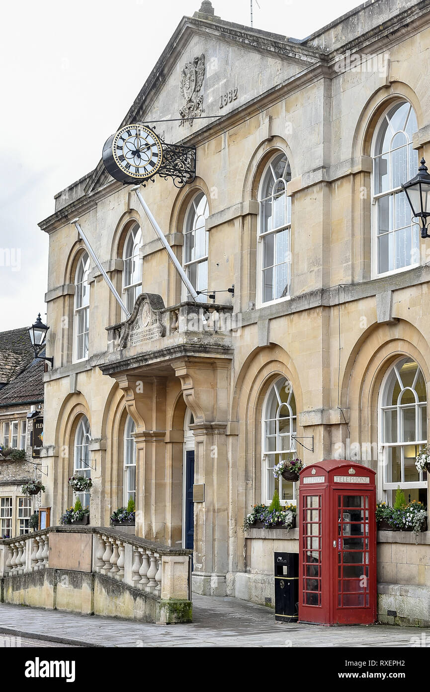 Corsham town hall on the high street in the county of Wiltshire Stock Photo