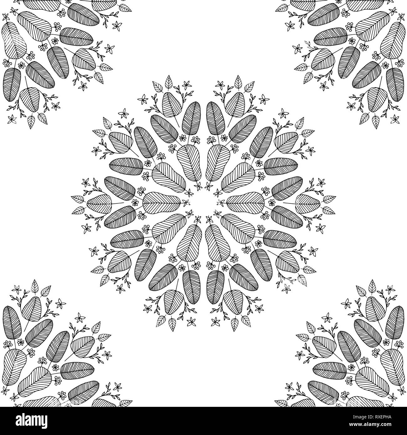Vector Seamless Colorless Pattern Made Of Hand Drawn Floral
