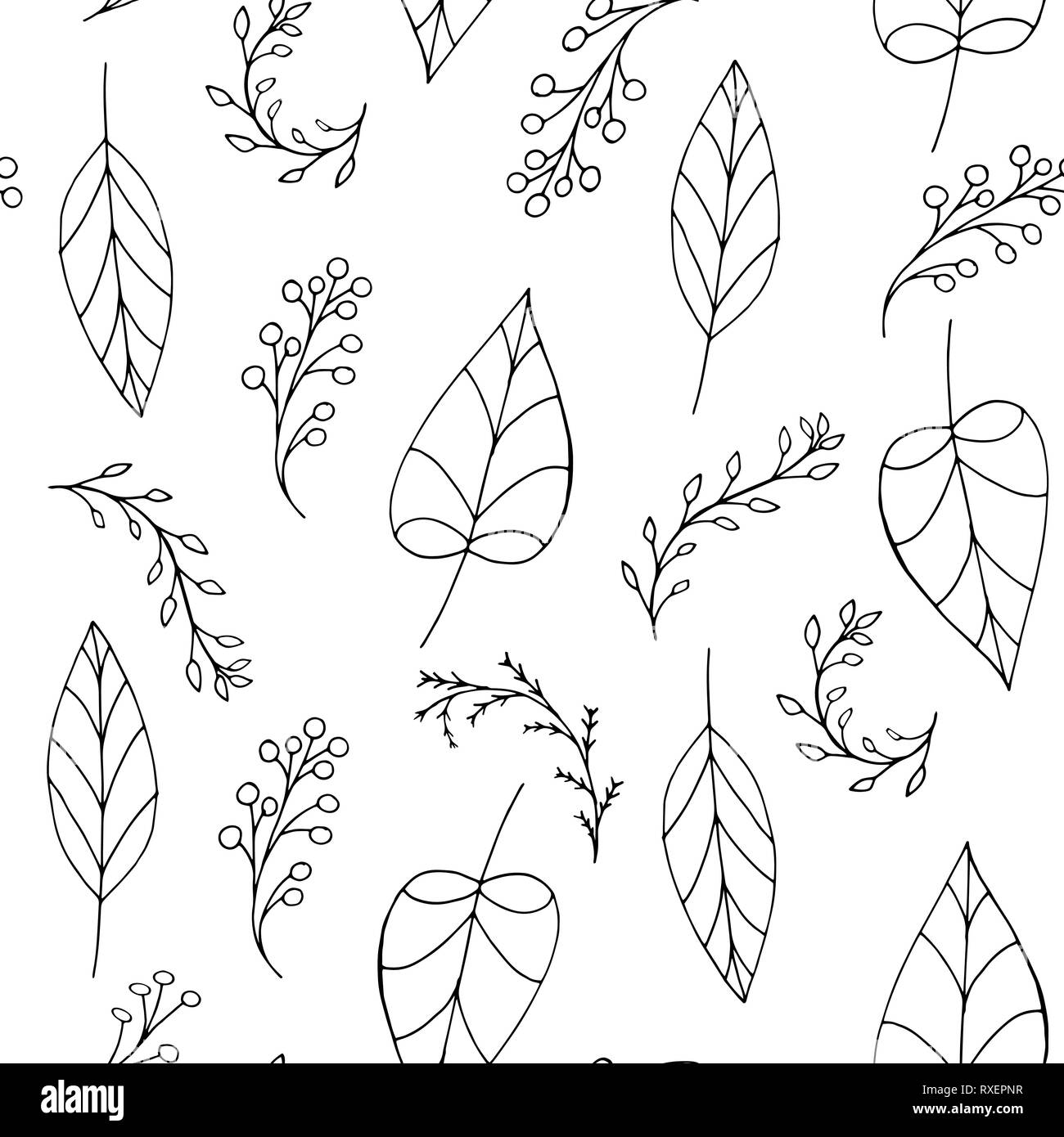 Black Vector Doodle Seamless Pattern With Leaves Berries On White Background Repeating Wallpaper Hand Drawn Illustration With Abstract Plants Stock Vector Image Art Alamy