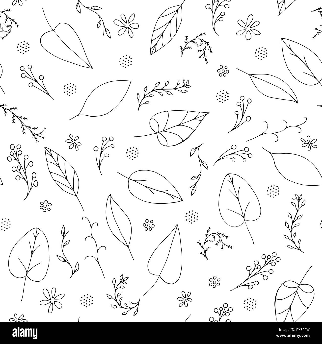 Black Vector Doodle Seamless Pattern With Abstract Leaves