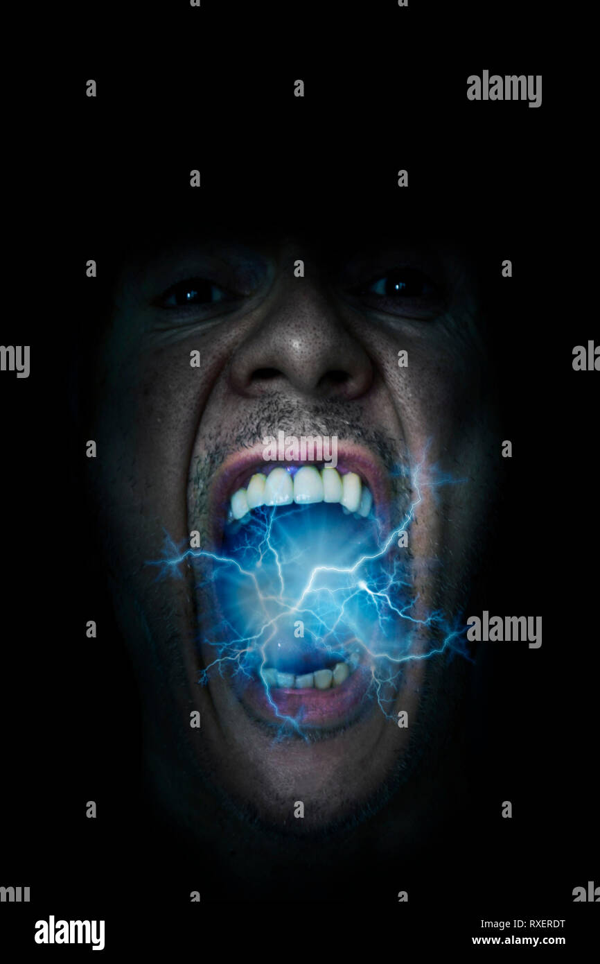 electric lightning coming out of a man open mouth - Stock Image