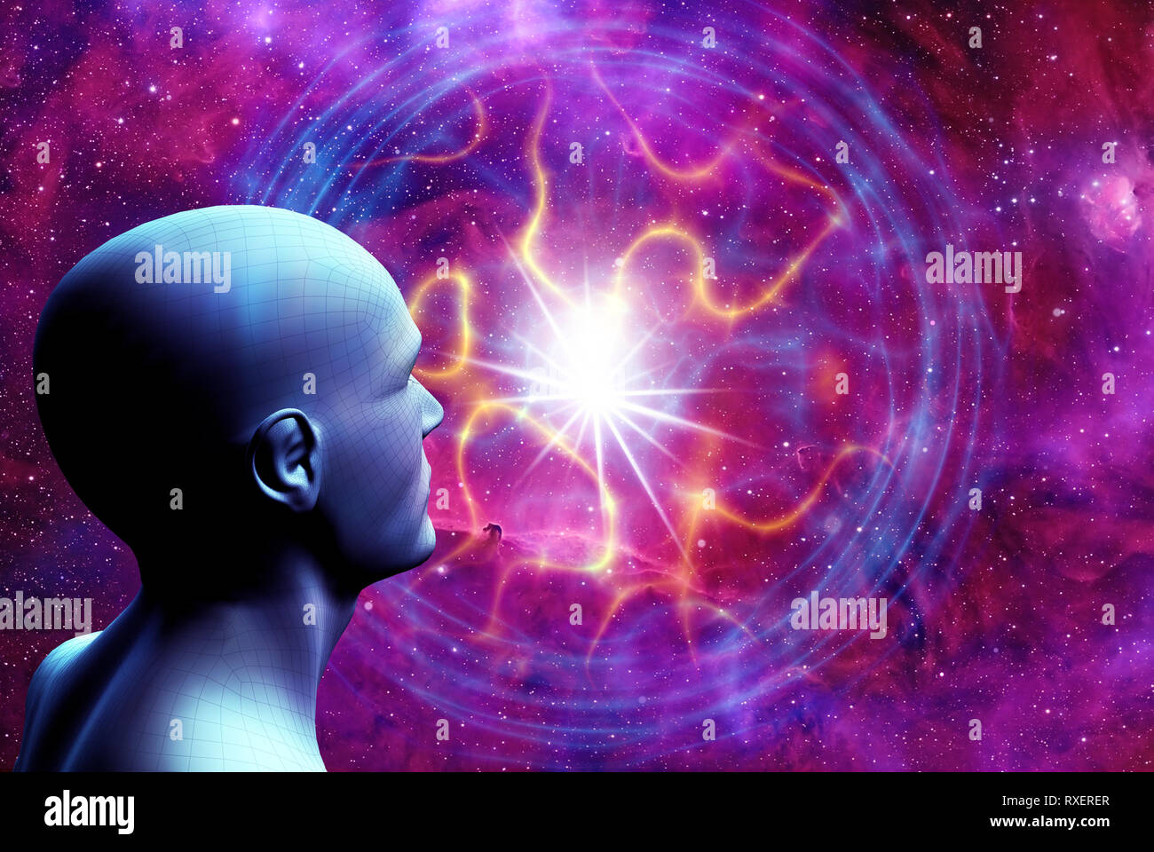 humanoid head and space with an energy ball, concept for future evolution of humankind - Stock Image