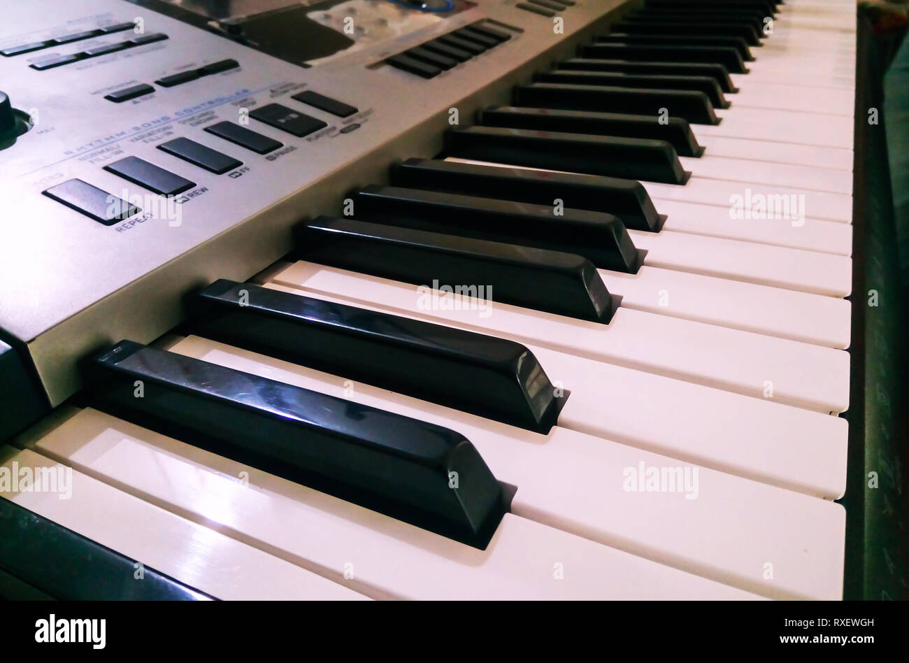 Close up view of electronic piano synthesizer Keyboard. selective focus and side angle view. - Stock Image